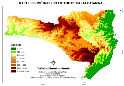 Mapa hipsométrico do estado de Santa Catarina