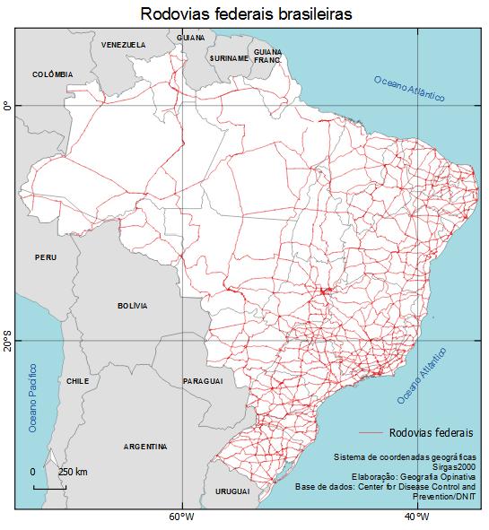 Mapa das rodovias federais brasileiras