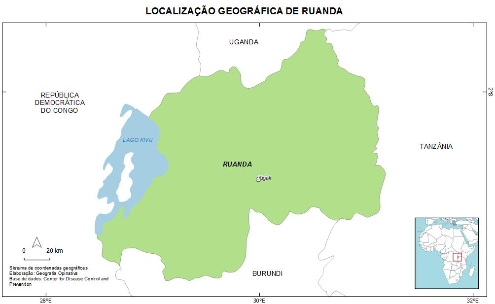 Localização geográfica de Ruanda