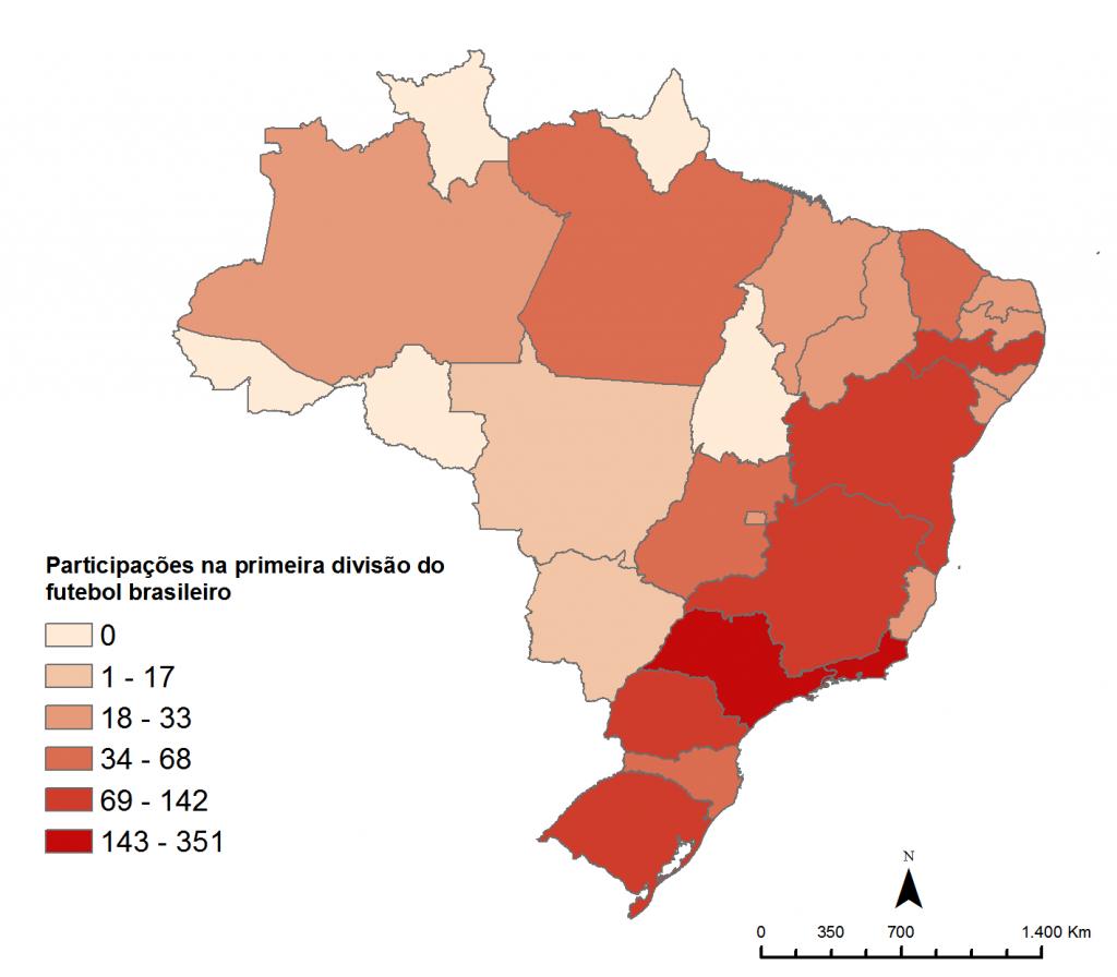 Participação na primeira divisão do futebol brasileiro por Unidade Federativa