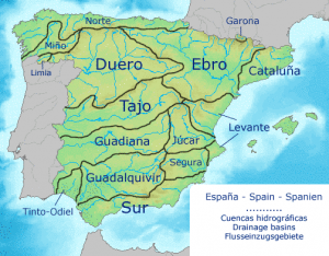 Principais Bacias Hidrográficas da Espanha. Por FDV – Obra do próprio, CC BY-SA 4.0, https://commons.wikimedia.org/w/index.php?curid=3787551