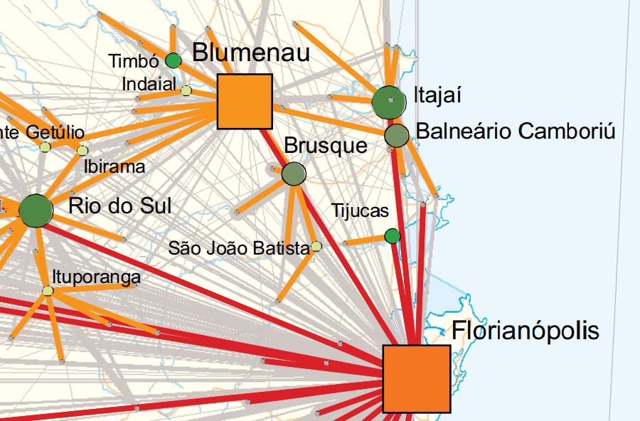 Detalhe de uma porção da Região de Influência da cidade de Florianópolis (SC).