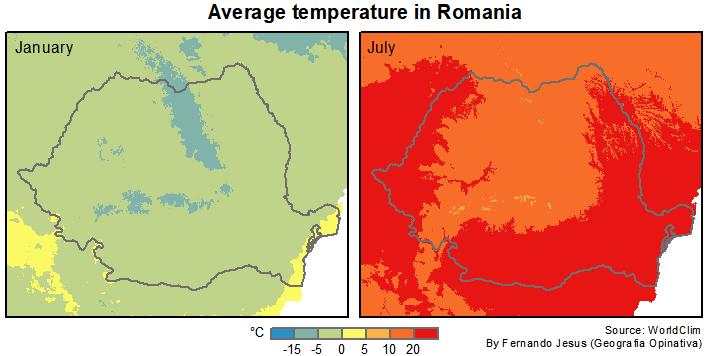 Temperatura Média na Romênia