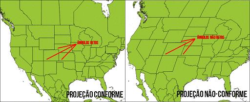 Comparação dos ângulos (formas) em uma projeção conforme e em uma projeção não-conforme. Note que, na projeção conforme, os ângulos retos que marcam as divisas entre alguns estados americanos são mantidos, como na realidade, enquanto que na projeção não-conforme, isto não ocorre.