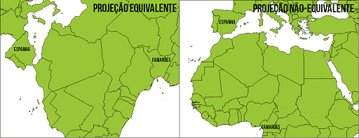 Comparação das áreas em uma projeção equivalente e em uma projeção não-equivalente. Note que Espanha e Camarões têm quase o mesmo tamanho na projeção equivalente, assim como na realidade, embora tenham suas formas deformadas, enquanto que a Espanha se apresenta em área bem maior na projeção não-equivalente.